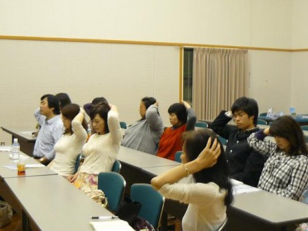 Some of the participants in Onomichi during the Lifting the Veil of Oblivion Meditation